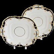 SALE Pair, Davenport Square Plates with Handles, Bone China, Cobalt Blue & Gold, Antique 19th