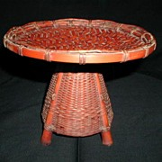 SOLD Japanese Bamboo Basket Tray for Tea Ceremony, Signed, Antique