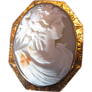 SALE Antique Cameo Brooch, Harvest Goddess, Large, 10K Gold Frame