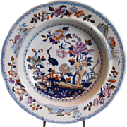 Early Davenport Stone China Soup Plate, Chinoiserie Stork, Antique c1815