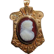 SALE Cameo Brooch, Carnelian Hardstone, Antique 19th C Etruscan Revival
