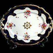 REDUCED John Ridgway Porcelain Large Dish, Handpainted Flowers, Blue & Gold, c1835  Englis