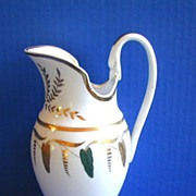 REDUCED Austrian Porcelain Large Pitcher or Jug, Swan's Head Handle, Antique c 1820