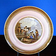 "F&R Pratt Plate, Pink Ground, ""Skewbald Horse"" Antique 19th C English"