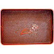 SALE Japanese Negoro Lacquer Large Tray, Red & Black, Kamakura Carved, Vintage