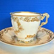 Copeland & Garrett Cup & Saucer, Felspar Porcelain, Antique 19th C English, As Is