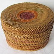 Northwest Indian Basket, Round, Covered,  Medium Size, Makah, Native American