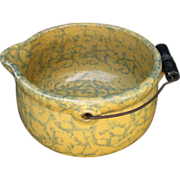 "Spongeware Yellow Ware Batter Bowl ""Gypsy Kettle"",  Wire Handle, Antique American"