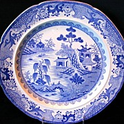 "Early Mason Ironstone Plate,  ""Turners Willow"", Antique c 1820"