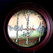Majolica Plate or Plaque, Scenic Birch Trees, Antique