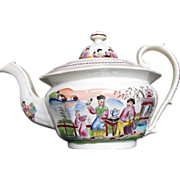 Zachariah Boyle Teapot, English Chinoiserie,  Antique Early 19th C AS IS