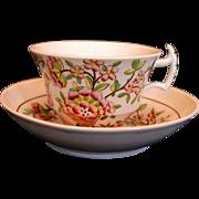 Rare Davenport Chinoiserie Cup & Saucer, Antique 19th C English Porcelain