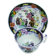 Rathbone Chinoiserie Cup & Saucer, Boy with Tray, Antique 19th C English