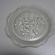 Iris and Herringbone Luncheon Plate