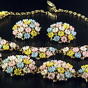 Fabulous Vintage Leru Parure Necklace Bracelet Earrings