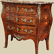 Very Pretty Marquetry Inlaid Marble Top Commode