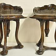 Pair of Carved Walnut Stools