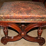 Handsome French Walnut Embossed Leather Bench