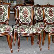 Fantastic Set of 6 Napoleon III Style Walnut Chairs