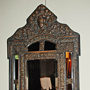 French Brass Repousse Mirror
