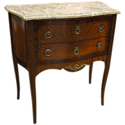 French Inlaid Diminutive Commode with Marble Top