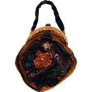 Ladies Vintage Arts & Crafts Style Beaded Purse Bag  Faux Tortoise Shell Celluloid Handle ...