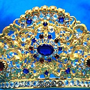 SOLD Antique French Jeweled Crown Tiara for Santos or Madonna