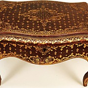 SOLD Miniature French Gilt Tooled Leather Table/Box