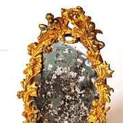 SOLD Napoleon III French Bronze Small Standing Vanity Mirror with Original Mirror