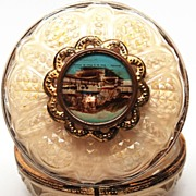 SOLD French Glass Vanity Powder Jar with Eglomise Scene of Grenoble