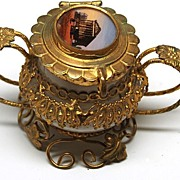 SOLD 19th Century Grand Tour Fancy Brass Opaline Encrier/Inkwell