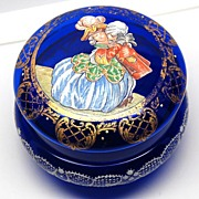 SOLD Antique French Cobalt Blue Glass Bonbon Jar with Hand-Painted Lid