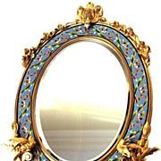 SOLD Napoleon III French Bronze Doré/Champlevé Standing Mirror