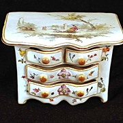 SOLD French Faïence Hand Painted Miniature Bureau
