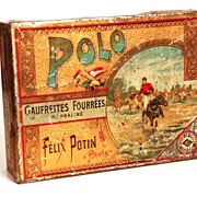 SOLD Boîte à gâteaux Polo: French Gaufrette Tin circa 1895-1910