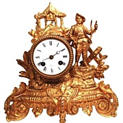 SOLD Antique French Gilded Metal Figural Clock