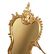 SOLD Antique Nineteenth Century Bronze Standing Table Mirror