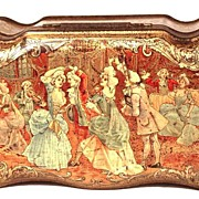 """SOLD Antique French Metal Chromolithograph Biscuit Tin: """"Biscuits Pernot"""" circa 1895"""