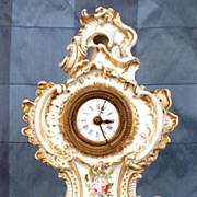 SOLD Nineteenth Century French Vieux Paris Porcelain Clock with Porcelain Stand