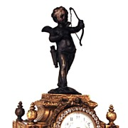 SOLD Antique Nineteenth Century French Bronze Figural Clock with Cupid Figure and Rhinestones