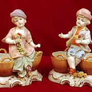 SOLD Pair of Antique Nineteenth Century  Hand Painted Porcelain Figurines