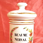 """SOLD Antique Nineteenth Century French Apothecary Jar, """"Beaume Nerval"""""""