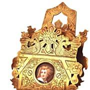 SOLD Nineteenth Century French Bronze Standing Letter Holder w/Porcelain Portrait