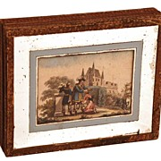 Nineteenth Century French Bonbon Box w/Color Lithograph Inset