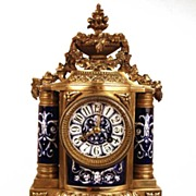 SOLD Magnificent French Napoleon III Bronze and Porcelain Clock