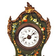 SOLD Antique French Painted Boudoir Clock w/Bronze Ormolu