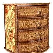 SOLD Antique French Miniature Bureau w/ Metallic Braid and Brass Drawer Pulls