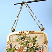 SOLD Antique French Beaded Purse w/Silver Gilt Mounts
