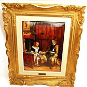 """Large Hand Painted Limoges Enamel Wall Plaque """"Le Galant Militaire"""" (artist unknown)"""