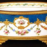 SOLD Antique Nineteenth Century Hand Painted Porcelain Coupe w/Bronze Doré Ormolu